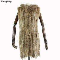 ingrosso cappuccio lungo della maglia di pelliccia-Harppihop * Donne New coniglio Genuine gilet di pelliccia con cappuccio Moda Raccoon Fur Collar Gilet di pelliccia calda naturale lungo GiletMX191009