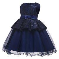 mavi tül çiçek kız elbisesi toptan satış-Zarif Yeni Varış Çiçek Kız Elbise Çocuk Lacivert Kolsuz Tül Parti Gelinlik Moda Çocuk Giysileri