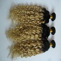 renk 27 kıvırcık toptan satış-T1 / 27 Renk Ombre Sapıkça Kıvırcık Saç Uzantıları% 100% İnsan Saç Örgüleri 10-30 Inç Işlenmemiş Çift Atkı Saç Dokuma