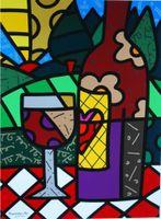 ingrosso vino moderna arte astratta pittura-Vino Romero Britto del fumetto di arte astratta rosso, pittura a olio di stampa di alta qualità di riproduzione Giclee su tela Modern Home Art Decor