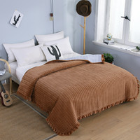 Wholesale bedspreads ruffle resale online - Brown Color Plush Warm Quilted Bedspread Ruffled Edge Blanket Throw Queen size Bed cover set Sofa cover Ultra Soft All Seasons