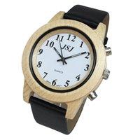 konuşan saatler toptan satış-Alarmlı Deri Kayışlı Ahşap Konuşan Saat, Konuşan Tarih ve Saat