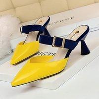 saltos kaki amarelos venda por atacado-Chinelos Mulher Sapatos Dedo Apontado Mulas Cor Fivela Saltos Altos Rasos Sandálias Verão Verão Amarelo Vermelho Damasco