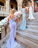 Wholesale sexy big long train wedding dress for sale - Group buy 2019 New Mermaid Long Bridesmaid Dresses Sexy Backless Spaghetti Straps With Big Bow Sash Prom Wedding Guest Dresses Evening Gowns vestidos