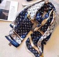 damen seide weihnachten schals groihandel-Designer Mode Seidenschal Frauen Brief Schal Schal Pashmina Damen langer Halsring Weihnachtsgeschenk Größe 180x90cm