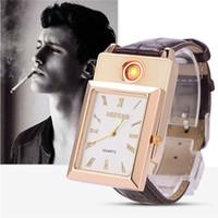 Wholesale gold silver metal detectors resale online - Personality Originality Man Quartz Wrist Watch Electronics Point Smoke Detector Metal Usb Charge Lighter
