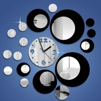 Wholesale decoration circle mirrors for sale - Group buy Mirror Wall Clock Circles Movement Mirror Home Clock DIY Decor Wall Decoration Gift Black Silver