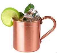 ingrosso tazze mulo mosca di rame solidi-Moscow Mule Copper Mug 14OZ Solid Smooth senza rivestimento interno per Cocktail Coffee Beer Milk Water