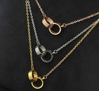 modèles pour colliers achat en gros de-Explosions européennes et américaines à vis petit collier double anneau Mode collier de collier de marée femelle de modèle de titane en acier sauvage d'acier