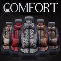 innenkunst großhandel-Leopard-Auto-Sitzbezug-Set Leder-Auto-Matte Four Season Alle Clusive Tuch-Kunst-Auto-Innen Zubehör bequemer Breathable HHA393