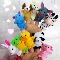 muñecas de tela de animales al por mayor-Nuevo juego de roles marionetas de dedo tela felpa muñeca bebé mano educativa dibujos animados animales juguetes 10 piezas