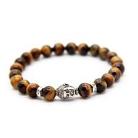 ingrosso anello tigre occhio piatto-Braccialetto in argento placcato gioielli all'ingrosso perline Buddha bracciali in rilievo, onice nero, pietra rossa, pietra occhio di tigre Jewerly per il partito