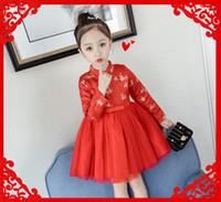 chinês novo ano roupas vermelhas venda por atacado-Vestidos das meninas do bebê vermelho Qipao Kid chinês chi-pao cheongsam presente de ano novo roupas infantis meninas vestido