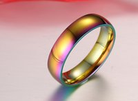 Wholesale titanium steel ring rainbow for sale - Group buy Luxury Rainbow Color Titanium Steel Rings Accessories Jewel Ring Fashion Jewelry Beauty Valentine Lovers Birthday Party Gifts
