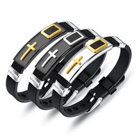 Wholesale prayer charms for sale - Group buy Cross Charm Men s Stainless Steel Bracelet Christian Lord s Prayer Silicone Band Adjustable Male Bangle Dropshipping