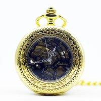 manecillas del reloj analógico al por mayor-Oro esquelético romano dial de la manera carcasa de aleación analógico reloj de viento de la mano de Steampunk Reloj de bolsillo mecánico Para Hombres Mujeres PJX1291