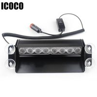 Wholesale grille flash resale online - ICOCO LED Grille Warning Flash Strobe Lights Lamps Blocks For Dashboard or Mounting onto the Windshield Red and Blue