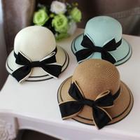 специальная солома оптовых-Весенняя и летняя женская детская пляжная шапка для детей Специальная соломенная бабочка-козырек от солнца. Шляпа Sun Fashion party hat T3H5009