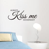 beijo mural venda por atacado-Romântico Mural Amor Adesivos de Parede de Vinil Quarto Cotações decalques Sempre Me Beijam Boa Noite Decoração Da Casa Arte Da Parede Decoração