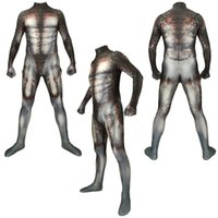 ingrosso pelle cosplay-2019 Asian Size Halloween Predator Supereroe Unisex 3D Cosplay Costume Party Zentai tuta pelle Catsuit Tuta