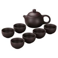 için çay takımları toptan satış-Yeni Mor kum çay siyah seramik kung fu set Çaydanlık el yapımı Mor kum demlik çay fincanı gaiwan çorba kâsesi çay seremonisi 7-12pcs / set kaliteli