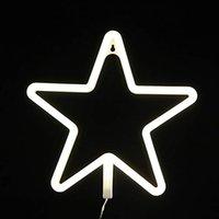 led yıldızlı şekilli ışıklar toptan satış-OHANEE Özel fit Neon Işık Burcu LED Yıldız Şekilli Gece Duvar dekor Işık USB tarafından işletilen / Pil Ile Sıcak Beyaz Işık Doğum Günü için