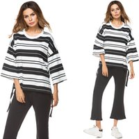siyah üst beyaz pantolon toptan satış-2 parça kıyafetler kadınlar casual gevşek tunik üst pantolon Siyah beyaz çizgili bluz Siyah parlama pantolon artı boyutu 8013