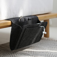 Wholesale phone storage box holder resale online - Felt Multifunction Bedside Sofa Hanging Holder Storage Organizer Box Magazine Smart Phone Remote Controll Storage Bag Pockets RRA836