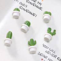 weiße pflanze für hausdekoration großhandel-6 stücke Kreative Sukkulente Magnet Weiß Kaktus Kühlschrankmagnete Souvenir Dekoration Nachricht Kühlschrank Aufkleber Wohnkultur
