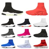 ingrosso zapatillas casual hombre-Balenciaga Nueva llegada 2019 zapatillas de deporte de lujo entrenador de velocidad hombres mujeres zapatos casuales negro blanco para hombre del zapato del zapato del calcetín
