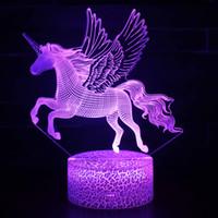 nachtlampe einhorn großhandel-3D Einhorn Nachtlicht 25 Designs Unicorn Touch Schreibtischlampe Kinder begleiten Lampe Einhorn Geschenke 1 Stück ePacket