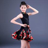 ingrosso fiore zebra-fiore floreale sala da ballo ballo latino ragazze bambini abiti gara bambini salsa tango rumba samba per pratica gonne set