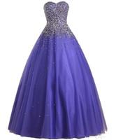 ingrosso abiti di promenade pesanti-2019 New Vestido De Festa Longo Para Casamento Perline pesante in tulle viola Tulle Ball Gown Prom Dresses Dress Abito da sera