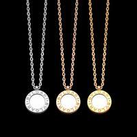 messing glocke anhänger groihandel-Luxus-Schmuck-Silber Rose Gold-runde Schale Anhänger Designer Halskette 18K Gold aus rostfreier dünnen Kette schwarz weiße Muschel Frauen Halskette