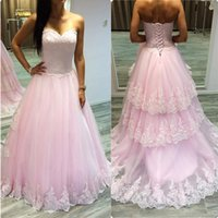 Wholesale red black elegant gowns for sale - Group buy Elegant Pink Appliqued Lace Prom Dresses Sweetheart A Line Tiered Long Prom Gowns Robe De Soiree Longue Formal Party Dress