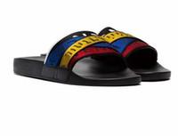 Wholesale ivory sandals for women for sale - Group buy 2019 stripe G webbing Fashion slide sandals slippers for men women WITH ORIGINAL BOX Hot Designer unisex beach flip flops slipper