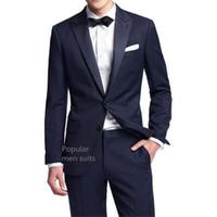 одевает молодых оптовых-New Arrival Navy Blue Men Suit Slim Party Dress Groomsmen Tuxedo For Beach Wedding Young Mens Daily Work Wear(Jacket+Pants+Tie)