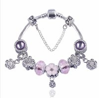 Wholesale cherry jewelry sets for sale - Group buy Silver Pink Crystal Lampwork Glass Crystal Bracelet European Charms Beads Charm Bracelets Cherry blossom Jewelry Free Ship Gifts