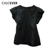 kore rengi bluz siyah toptan satış-Chicever Ruffles Beyaz Kadınlar Tops Ve Bluzlar O Boyun Kısa Kollu Ince Siyah kadın Gömlek Kore Moda Rahat Giysiler Yeni J190614
