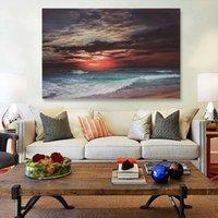 plaj soyut tuval duvar sanatı toptan satış-3 Boyutu Çerçeveli Deniz Plaj Günbatımı Kum Okyanus Soyut Tuval Baskı Resim Sergisi Wall Art Resim Posteri Ev Yatak Odası Oturma Odası dekor