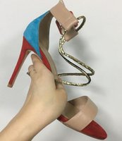 bloques de tacón de aguja al por mayor-Moda Color Blocking Summer Open Toe Sandals Stiletto High Heel Women Formal Shoes for Work