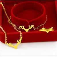 Wholesale deer pendants for sale - Group buy 2019 sand gold deer set chain k gold antler bracelet necklace female ring does not fade