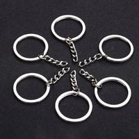 diy gümüş anahtarlıklar toptan satış-Cilalı Gümüş Renk Ile 30mm Anahtarlık Anahtarlık Bölünmüş Yüzük Kısa Zincir Anahtar Yüzükler Kadın Erkek DIY Anahtar Zincirleri aksesuarları 10 adet