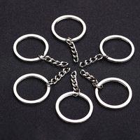 anel de resina prata venda por atacado-Polido Cor Prata 30mm Chaveiro Chaveiro Anel Dividido Com Cadeia Curta Chave Anéis Mulheres Homens DIY Chaveiros Acessórios 10 pcs