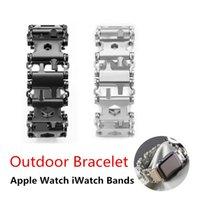 наручные часы для браслетов оптовых-Открытый Spliced Браслет Многофункциональный Инструмент Отвертки Ручной Цепи Браслет Выживания Поля для Apple Watch iWatch Bands Ремни