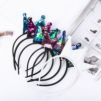 ingrosso orecchio duro-Bambini Reversibile Sequin Crown Mouse Orecchie Hairband Boutique Bambini Fascia rigida Fotografia Puntelli Accessori per capelli da ragazza C32