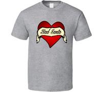 ingrosso tatuaggio della camicia delle donne-T-shirt di moda unisex delle donne degli uomini della maglietta del tatuaggio del cuore del tatuaggio di Bad Santa Tattoo Funny Christmas