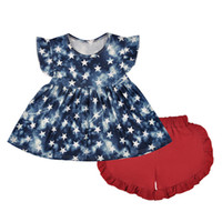 amerikanische mädchen sommerkleidung großhandel-Unabhängigkeitstag Mädchen Anzug Kleid Shorts amerikanische Flagge Sterne Druck zweiteilige Kleidung Set Baby Kleinkind Mädchen Anzug Sommer Outfits