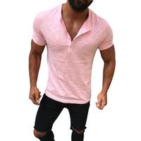 düğme bluzları kısa kollu toptan satış-Erkekler Yaz Katı Düğme Slim Fit V Boyun Kısa Kollu Tank Top Tunik Bluz Tişört S-2XL