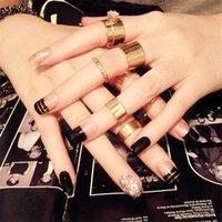 ingrosso disegni perla nera-24 pz top quality fashion nuova perla strass abbellimento testa quadrata nero finto nail patch fai da te nail art design